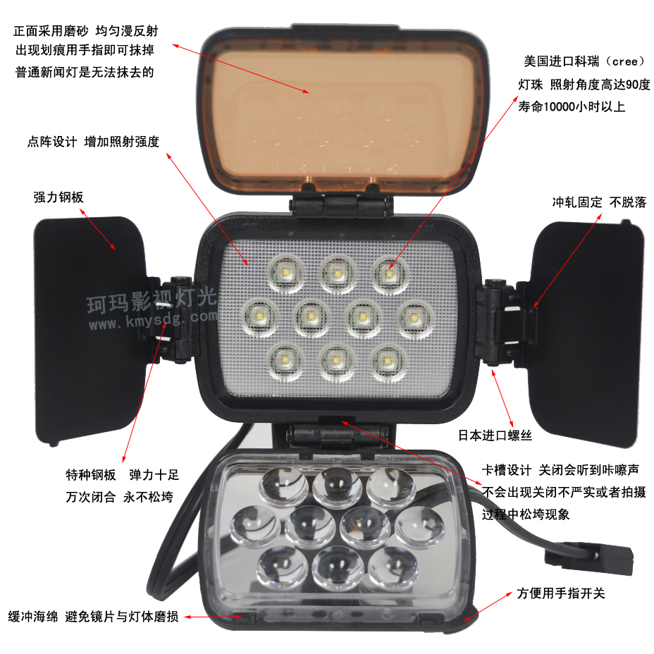 肩扛摄像机LED新闻灯CM-LED1200正面图