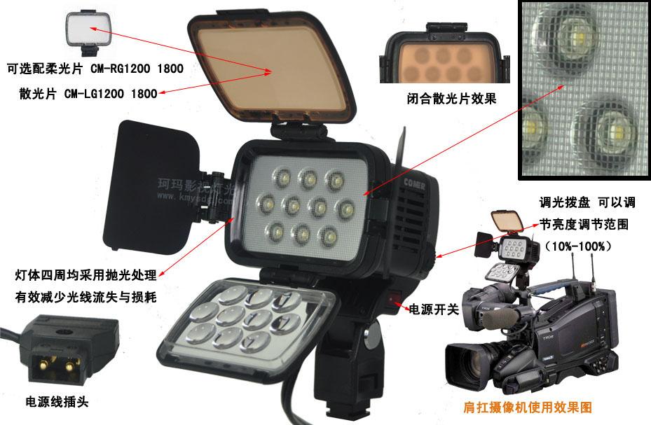 肩扛摄像机LED新闻灯CM-LED1200侧面图
