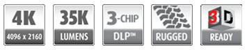 巴可BARCO  三芯片DLP投影机  HDQ-4K35 性能特征