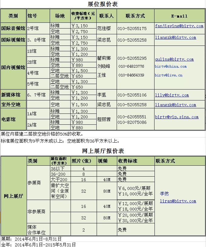 2014第二十三届北京国际广播电影电视设备展览会——展馆报价