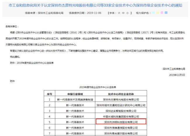 洲明获评2019年度深圳市级企业技术中心