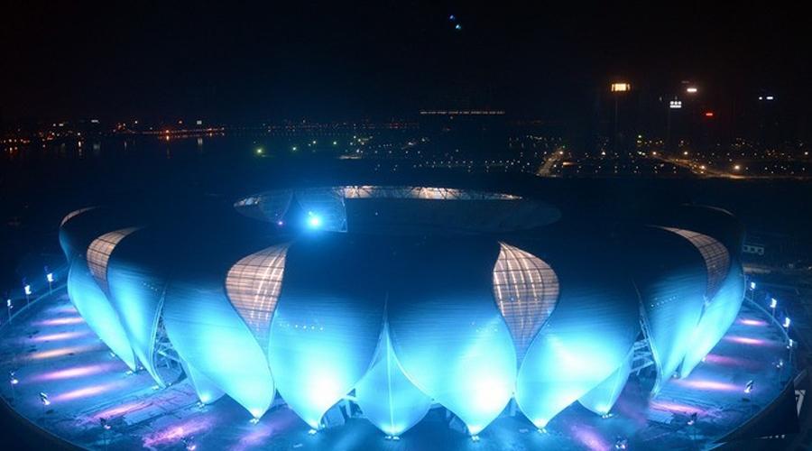 莲花盛放 雅江点亮杭州奥体中心主体育场