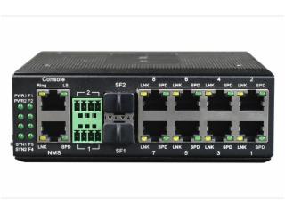 ERING-F8R2-飞畅科技-工业轨式8百兆电口+2路串口 2千兆光口 环网光纤交换机