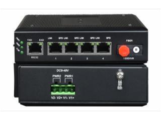 FCMG-F4R1N-飛暢科技-網管型 工業級1路百兆光口轉4路百兆電+1路串口交換機