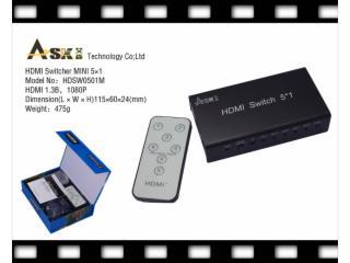 HDSW0501m-HDMI切换器5进1出迷你型